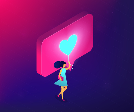 Businesswoman sharing content in social media with like. Personal brand, sharing content online, like for like and follow4follow concept. Ultraviolet neon vector isometric 3D illustration.