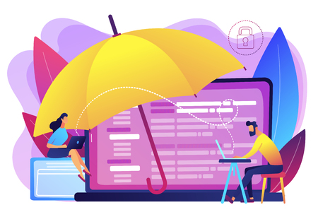 Business people work with laptops protected from internet-based risks. Cyber insurance, cyber-insurance market, cybercrime risk protection concept. Bright vibrant violet vector isolated illustration