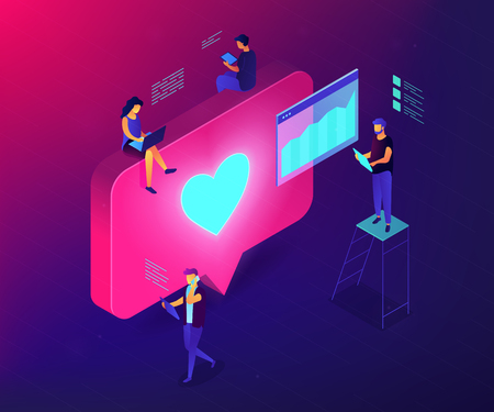 Social media specialists and analyst work with tablets and laptops and like. Social media engagement, in-platform messaging, SMM campaign concept. Ultraviolet neon vector isometric 3D illustration. Illustration