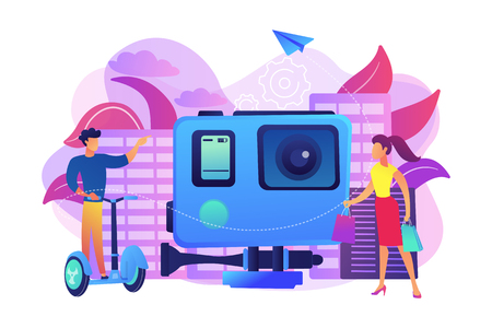 Businessman riding on the city tour, shopper and action camera. City tours, modern urban tourism, city tourist excursion concept. Bright vibrant violet vector isolated illustration