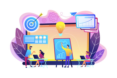 Company providing management training and office space. Business incubator, business training programs, shared administrative service concept. Bright vibrant violet vector isolated illustration