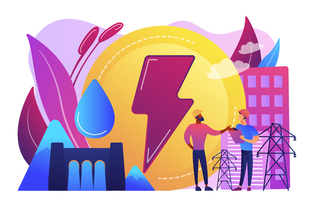 Engineers working at hydropower dam producing falling water energy. Hydropower electricity, water power, renewable sources concept. Bright vibrant violet vector isolated illustration Foto de archivo - 127294799