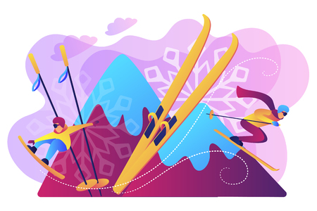 Skier and snowboarder sliding downhill in mountains. Winter extreme sports, downhill cross-country skiing, snowboarding freeride concept. Bright vibrant violet vector isolated illustration