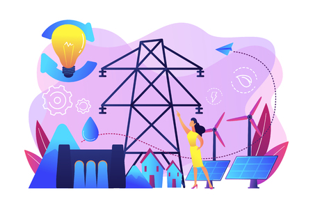 Scientist with sustainable development ideas solar panels, hydropower, wind. Sustainable energy, future-oriented energy, smart energy system concept. Bright vibrant violet vector isolated illustration Illustration