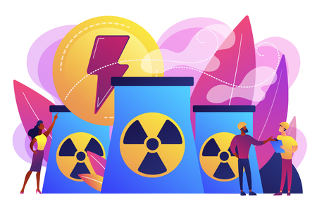 Engineers working at nuclear power plant reactors releasing energy. Nuclear energy, nuclear power plant, sustainable energy source concept. Bright vibrant violet vector isolated illustration Illustration