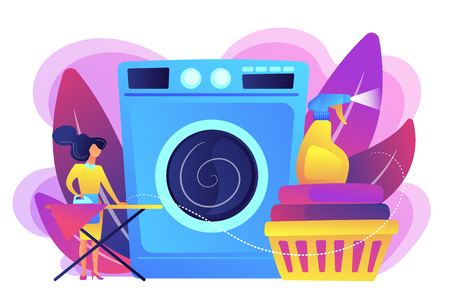 Laundry service worker ironing, washing machine. Dry cleaning and laundering, laundry facilities industry, cleaning and restoration services concept. Bright vibrant violet vector isolated illustration Stock Illustratie