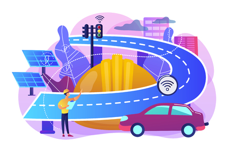 Building engineer and smart road using sensors and solar energy. Smart roads construction, smart highway technology, IoT city technology concept. Bright vibrant violet vector isolated illustration