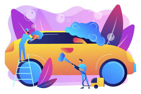 Car wash employees washing the exterior of the car with equipment and foam. Car wash service, vehicle cleaning market, carwash self-serve concept. Bright vibrant violet vector isolated illustration