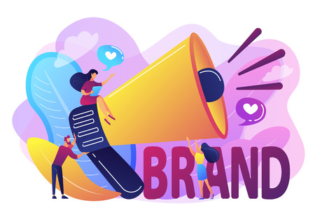Marketers with megaphone conducting brand awareness campaign. Brand awareness, product research result, marketing survey metrics concept. Bright vibrant violet vector isolated illustration Stock Photo