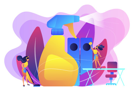 Commercial cleaning company janitors tidy up office with spray. Commercial cleaning, cleaning industry service, maintenance market resarch concept. Bright vibrant violet vector isolated illustration
