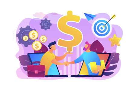 B2B sales person selling products and services to buyer in laptop. Business-to-business sales, B2B sales method, wholesale business trend concept. Bright vibrant violet vector isolated illustration Stock Photo