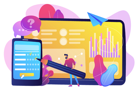 Businessman completing online survey form on smartphone screen. Online survey, internet questionnaire form, marketing research tool concept. Bright vibrant violet vector isolated illustration