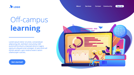 Professor with charts teaching students from laptop screen and globe. Distance education, off-campus learning, distance learning degree concept. Website vibrant violet landing web page template. 写真素材