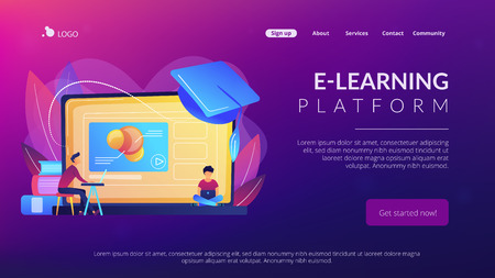 Students using e-learning platform video on laptop and graduation cap. Online education platform, e-learning platform, online teaching concept. Website vibrant violet landing web page template. Stock Photo