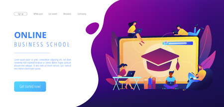 Students with laptops studying and huge laptop with graduation cap. Free online courses, online certificate courses, online business school concept. Website vibrant violet landing web page template. Stock Photo