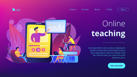 Students watching online training video with teacher and chart on tablet. Online teaching, share your knowledge, english teacher online concept. Website vibrant violet landing web page template. 版權商用圖片