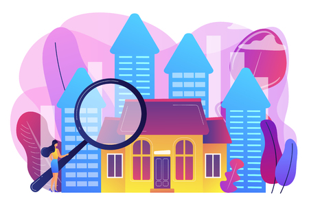 Real estate customer with magnifier looking for property for sale. Real estate market, real estate transactions, property market concept. Bright vibrant violet vector isolated illustration