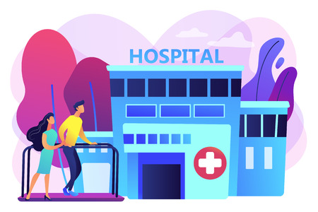 Therapist working with patient at rehabilitation center. Rehabilitation center, rehabilitation hospital, stabilization of medical conditions concept. Bright vibrant violet vector isolated illustration