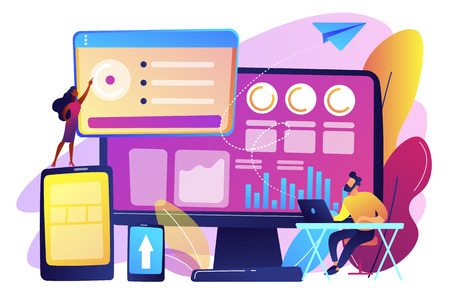 IT managers integrate technologies into business operations. Enterprise IT management, IT software solutions, enterprise architecture concept. Bright vibrant violet vector isolated illustration