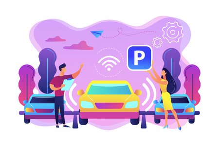 Self-driving car with sensors automatically parked in parking lot. Self-parking car system, self-parking vehicle, smart parking technology concept. Bright vibrant violet vector isolated illustration Stock Illustratie