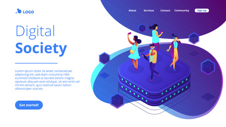 Bloggers using mobile phones and tablets walking on server. Social network behavior and digital society, blogger and trendsetter concept. Isometric 3D website app landing web page template Vettoriali