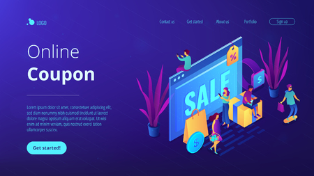 Browser window with sale and buyers with gadgets shopping online. Online sales pro, online coupon and special offer, cash back and discount concept.Isometric 3D website app landing web page template