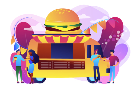 Business people at truck with burger eating fast food and drinking coffee. Street food festival, local food network, world cuisine festival concept. Bright vibrant violet vector isolated illustration