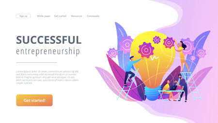 Business team putting gears on big lightbulb. New idea engineering, business model innovation and design thinking concept on white background. Website vibrant violet landing web page template. Ilustrace