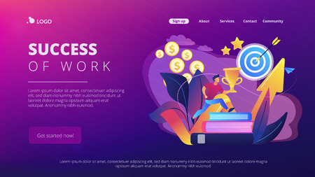 Businessman with trophy cup jumping on books to target and rising arrow. Motivation, job success, encouragement concept on white background. Website vibrant violet landing web page template. Ilustração