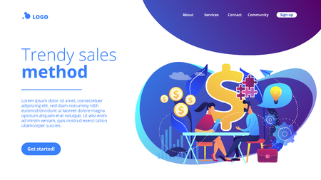 Salesperson suggesting a solution idea to consumers problem. Consultative sales, customer-oriented selling, trendy sales method concept. Website vibrant violet landing web page template.