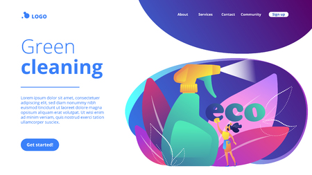 Green cleaning company employee tidies up with nature friendly spray. Green cleaning, eco cleaning company, environmentally friendly service concept. Website vibrant violet landing web page template. Illustration