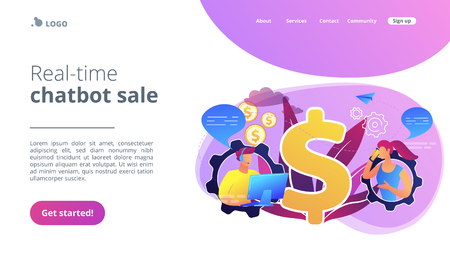 Customer has conversation on smartphone with assistant in real-time. Conversational sales, conversational marketing, real-time chatbot sale concept. Website vibrant violet landing web page template. Иллюстрация