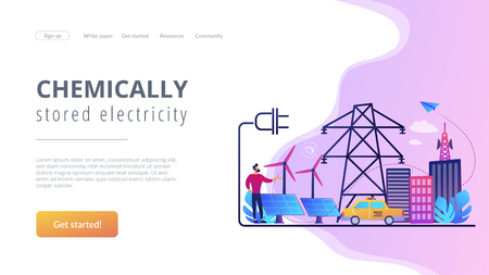 Businessman in green city and electric car using alternative fuel. Alternative fuels, chemically stored electricity, non-fossil sources concept. Website vibrant violet landing web page template.