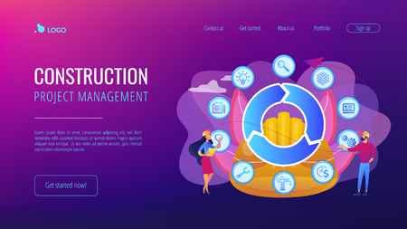 Information on full cycle of a building. Building information modeling, collaborative construction, construction project management concept. Website vibrant violet landing web page template. Vecteurs