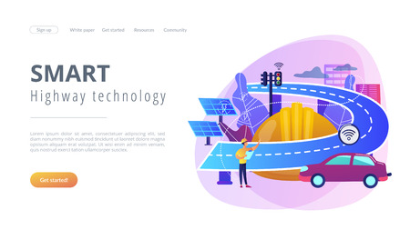 Building engineer and smart road using sensors and solar energy. Smart roads construction, smart highway technology, IoT city technology concept. Website vibrant violet landing web page template.