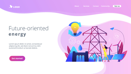 Scientist with sustainable development ideas solar panels, hydropower, wind. Sustainable energy, future-oriented energy, smart energy system concept. Website vibrant violet landing web page template.