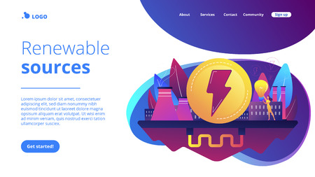 Eco friendly geothermal renewable energy plant and light bulb. Geothermal energy, renewable sources, enhanced geothermal system concept. Website vibrant violet landing web page template.