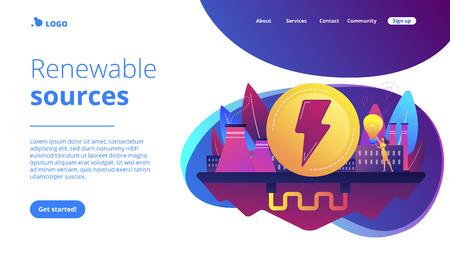 Eco friendly geothermal renewable energy plant and light bulb. Geothermal energy, renewable sources, enhanced geothermal system concept. Website vibrant violet landing web page template.