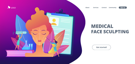 Surgeons with syringe doing facial contouring surgery to woman. Facial contouring, medical face sculpting, facial correction surgery concept. Website vibrant violet landing web page template.