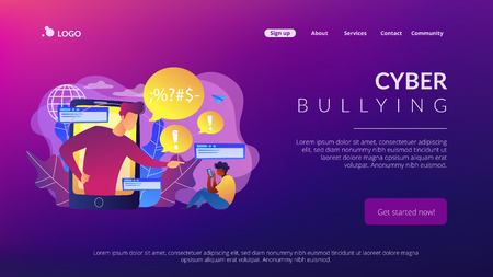 Bully in smartphone harassing, threatening and intimidating upset victim online. Cyberbullying, online flooding, social network harassment concept. Website vibrant violet landing web page template.