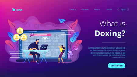 Hacker gathering target individuals sensitive data and making it public. Doxing, gathering online information, hacking exploit result concept. Website vibrant violet landing web page template. Çizim