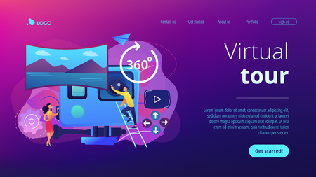 Business people on virtual reality tour 360 watching beautiful landscape and a camera. Virtual tour, 3d reality tours, virtual reality walk concept. Website vibrant violet landing web page template. Illustration