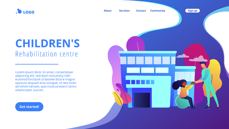 Physiotherapist and child gets treatment. Childrens rehabilitation centre, kids rehabilitation service, coordination and educational support concept. Website vibrant violet landing web page template.