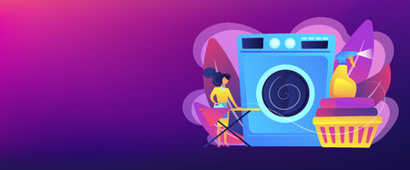 Laundry service worker ironing, washing machine. Dry cleaning and laundering, laundry facilities industry, cleaning and restoration services concept. Header or footer banner template with copy space.