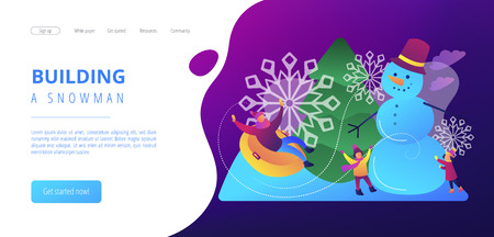 Happy people having fun outdoor in winter sledding and making snowman. Winter outdoor fun, building a snowman, snowball fight and sledding concept.Website vibrant violet landing web page template.