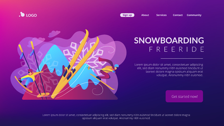 Skier and snowboarder sliding downhill in mountains. Winter extreme sports, downhill cross-country skiing, snowboarding freeride concept. Website vibrant violet landing web page template. Illustration