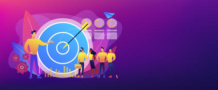 Duży cel, menedżer i pracownicy zaangażowani w cele firmy. Marketing wewnętrzny, promocja celów firmy, koncepcja zaangażowania pracowników. Szablon transparentu nagłówka lub stopki z miejscem na kopię.