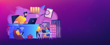 Businessmen use workspace with Wi-Fi reserved on-demand for work, meeting. On-demand workspace, dedicated meeting room, business workspace concept. Header or footer banner template with copy space.