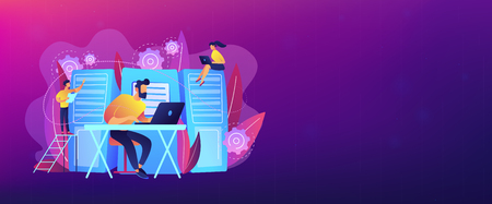 System administrators or sysadmins are servicing server racks. System administration, upkeeping, configuration of computer systems and networks concept. Violet color. Header or footer banner template. Ilustração