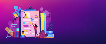 HR managers looking at curriculum vitae of job seeker as a concept of job interview, working experience, recruitment, job application. Violet palette. Header or footer banner template. Vectores